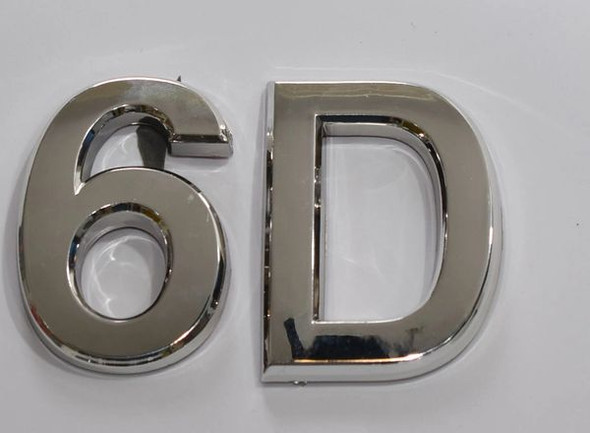 Apartment Number 6D Sign/Mailbox Number Sign, Door Number Sign. (Silver,3D, Size 2.75 x 1.75, Comes with Double Sided Tape)- The Maple line