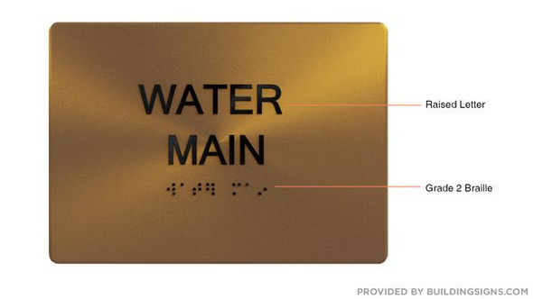 WATER MAIN Sign -Tactile Signs Tactile Signs    Braille sign