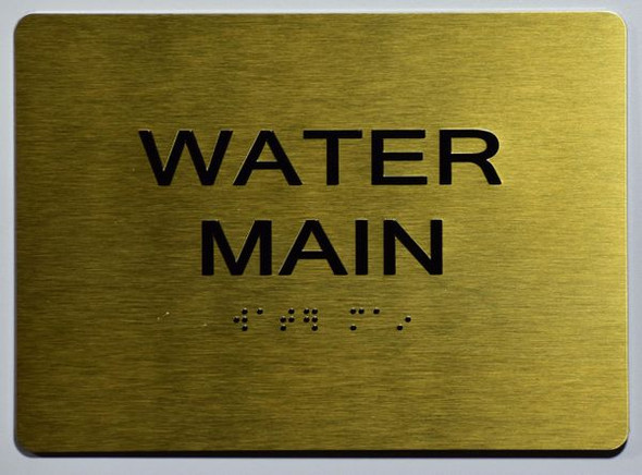 WATER MAIN Sign -Tactile Signs Tactile Signs   Ada sign