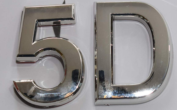 Apartment Number 5D Sign/Mailbox Number Sign, Door Number Sign. (Silver,3D, Size 2.75 x 1.75, Comes with Double Sided Tape)- The Maple line