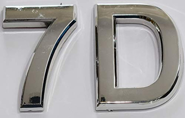 Apartment Number 7D Sign/Mailbox Number Sign, Door Number Sign. (Silver,3D, Size 2.75 x 1.75, Comes with Double Sided Tape)- The Maple line