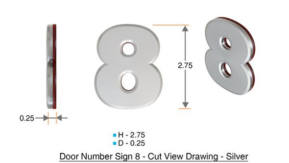 Apartment Number 8D Sign/Mailbox Number Sign, Door Number Sign. (Silver,3D, Size 2.75 x 1.75, Comes with Double Sided Tape)- The Maple line