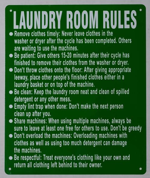 Laundry Room Rules SIGNAGE (Green, Rust Free Aluminium )
