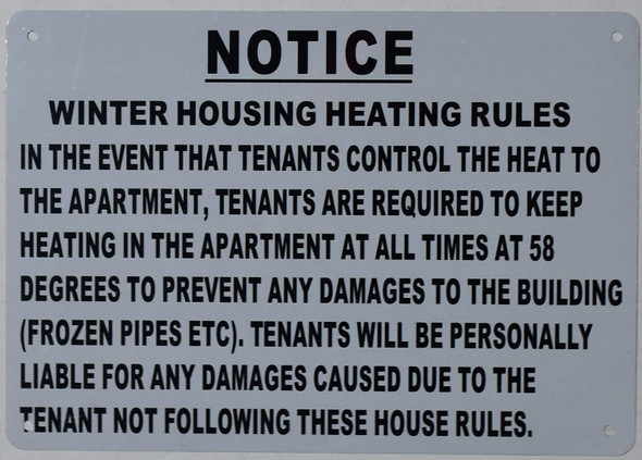 Winter HOUSING Heating Rules Sign