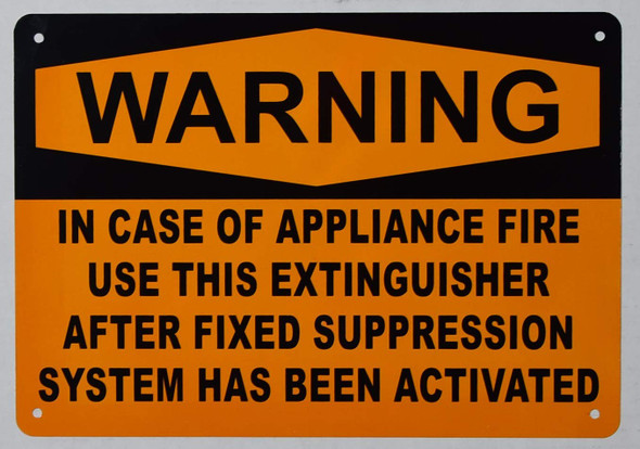 Warning in CASE of Appliance FIRE, USE This Extinguisher ONLY Sign