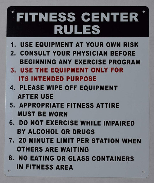 FITNESS CENTER RULES SIGN.