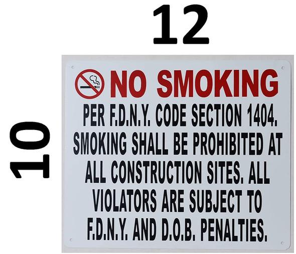 NO Smoking Sign -DOB NYC (White,Aluminium 10x12)