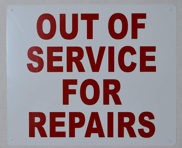 Out of Service for Repair Sign (White, Aluminium )