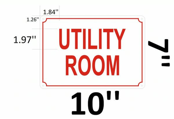 UTILITY ROOM SIGN White