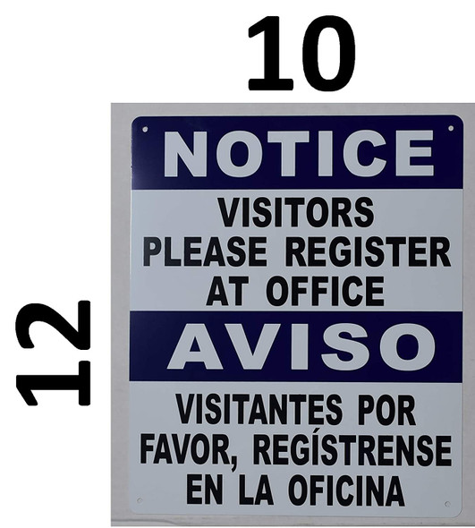 Visitors Please Register at Office Bilingual Signage with English & Spanish Text Signage