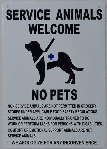 Service Animals Welcome NO Pets Sign  Tactile Signs  Ada sign