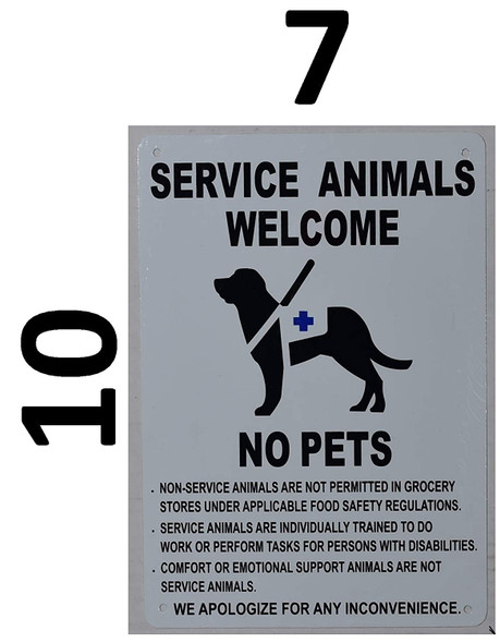 Service Animals Welcome NO Pets Sign  Tactile Signs   Braille sign