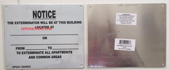 NYC HPD EXTERMINATOR SIGN