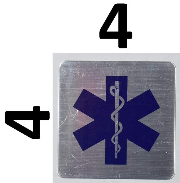Two (2) PCS Caduceus Snake Staff Medical Symbol Sign (Silver, Two Sided Tape, Aluminium 4X4-Rust Free)
