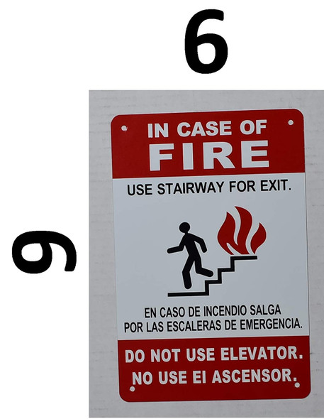 in Case of Fire Do Not Use Elevator, Use Stairs Sign (White,Size 6X9,)