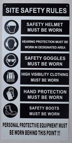 PPE sign - Site safety rule sign .