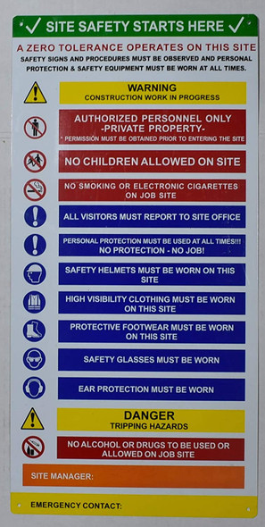 PPE Signage - Site Safety Start here Signage