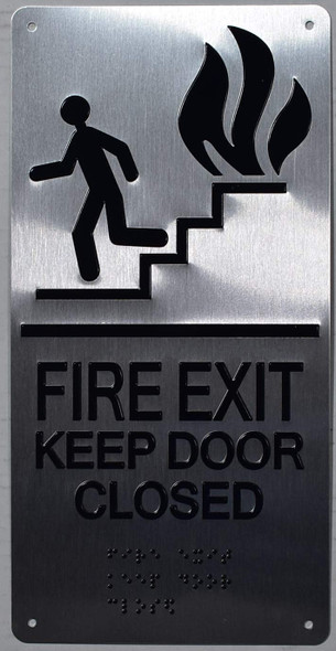 ada silver -FIRE EXIT KEEP DOOR CLOSED SIGN