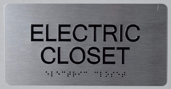 ada ELECTRIC CLOSET SIGN .Tactile Touch Braille Sign