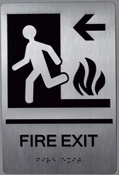 FIRE EXIT Left Arrow Sign -Tactile Signs -The Sensation line Ada sign