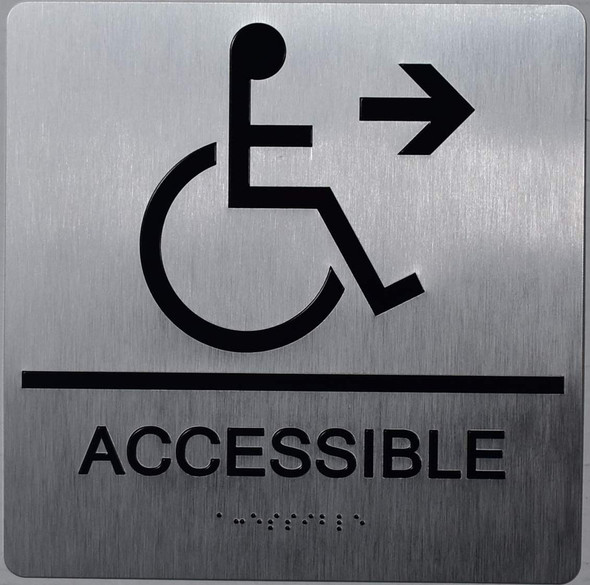 ACCESSIBLE Right Arrow Sign -Tactile Signs-The Sensation line  Braille sign