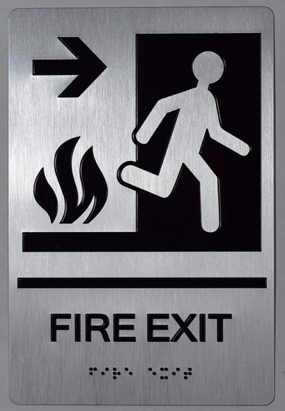 FIRE EXIT Right Arrow Sign -Tactile Signs -The Sensation line  Braille sign