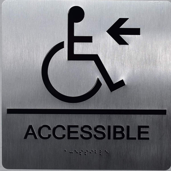 ACCESSIBLE Left Arrow Sign -Tactile Signs-The Sensation line  Braille sign
