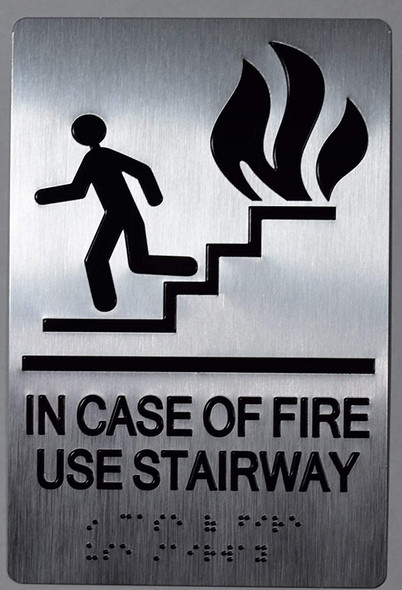 In CASE of FIRE USE Stairway Sign -Tactile Signs -The Sensation line  Braille sign