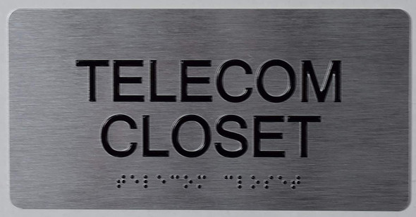 Telecom Closet Sign  -Tactile Touch Braille Sign - The Sensation line -Tactile Signs Ada sign