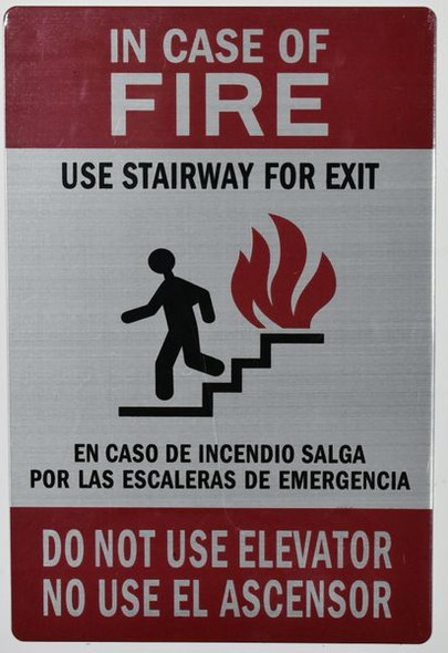 In CASE of FIRE USE Stairway DO NOT USE Elevator Signage