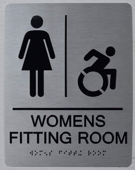 WOMEN'S FITTING ROOM ACCESSIBLE WITH SYMBOL SIGN SILVER