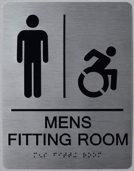 MEN'S FITTING ROOM ACCESSIBLE WITH SYMBOL SIGN SILVER