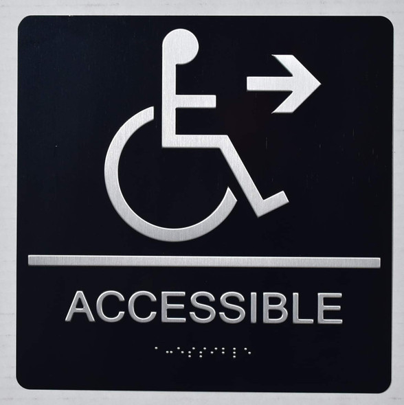 ada ACCESSIBLE RIGHT ARROW SIGN