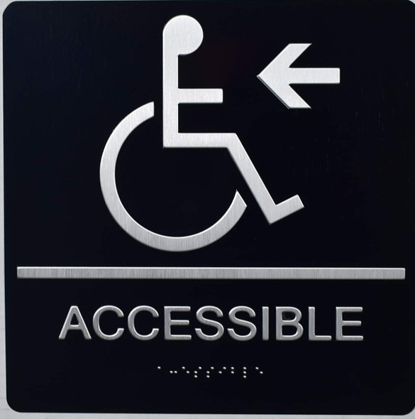 black ACCESSIBLE LEFT BRAILLE SIGN