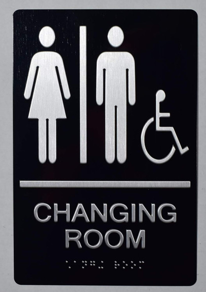 Changing Room ACCESSIBLE Sign -Tactile Signs Tactile Signs Unisex changing room accessible sign The Sensation line Ada sign