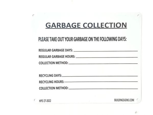 GARBAGE COLLECTION Sign White