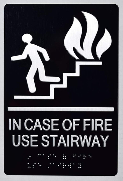 In CASE of FIRE USE Stairway-The Sensation line -Tactile Signs  Braille sign