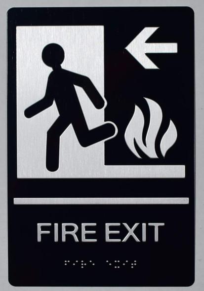 FIRE EXIT Left Arrow Sign -Tactile Signs-The Sensation line  Braille sign