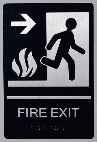 FIRE EXIT Right Arrow Sign -Tactile Signs-The Sensation line  Braille sign
