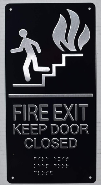 FIRE EXIT Keep Door Closed Sign -Tactile Signs Tactile Signs -The Sensation line  Braille sign