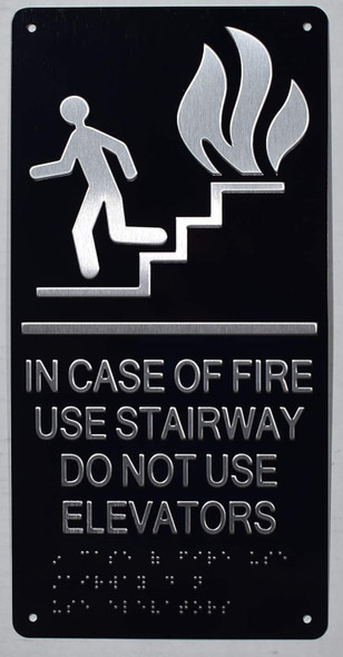 IN CASE OF FIRE USE STAIRWAY DO NOT USE ELEVATOR sign ada black