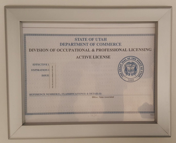 Certificate frame state of Utah