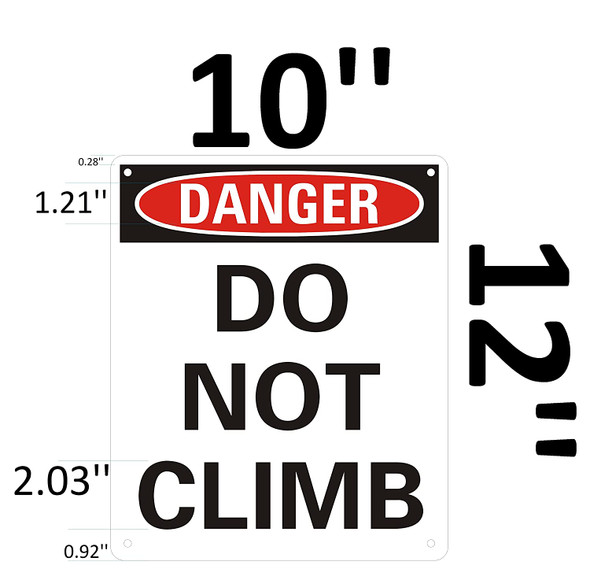 Danger: Do Not Climb on Ladder Signage