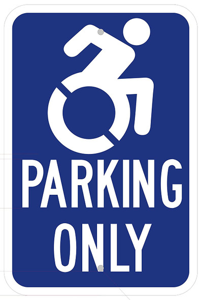 "Handicap""Parking ONLY"" Sign Blue"