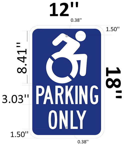 "Handicap""Parking ONLY"" Signage Blue"
