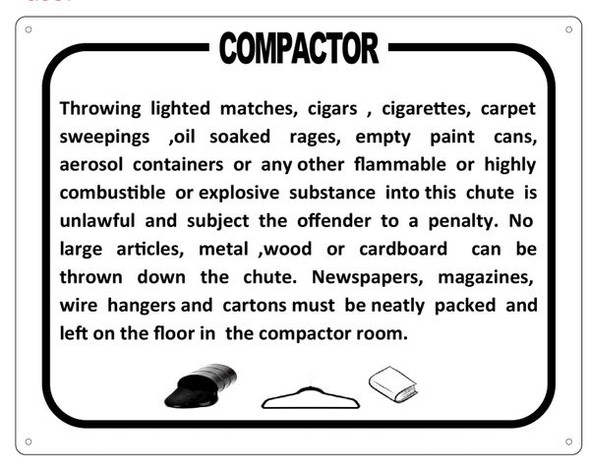 COMPACTOR ROOM SIGN (WHITE ALUMINUM SIGN)