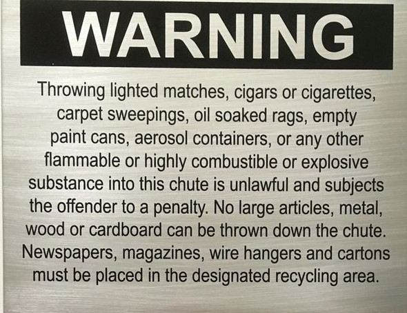 building sign COMPACTOR CHUTE WARNING - BRUSHED ALUMINUM