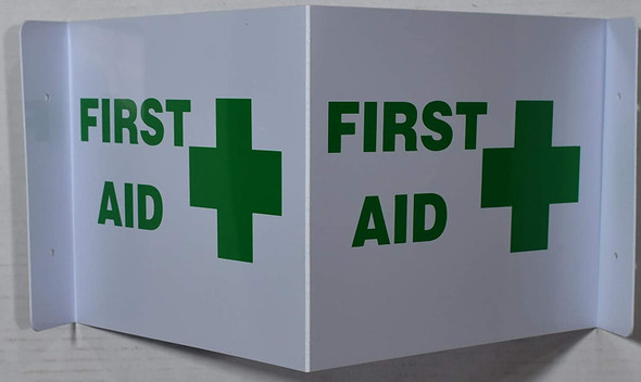 This First Aid 2D projection signs / 2d hallway sign is printed on both sides for easy viewing.