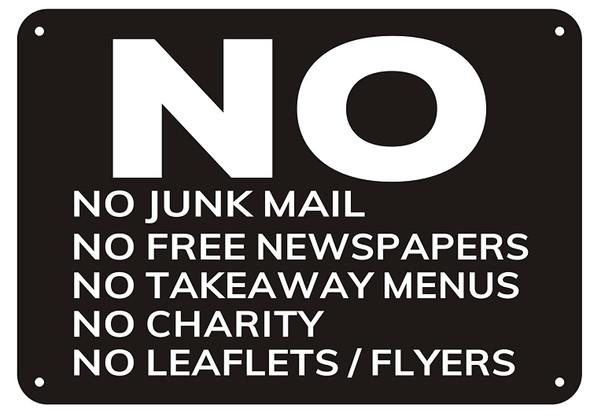 No Junk Mail sign-black