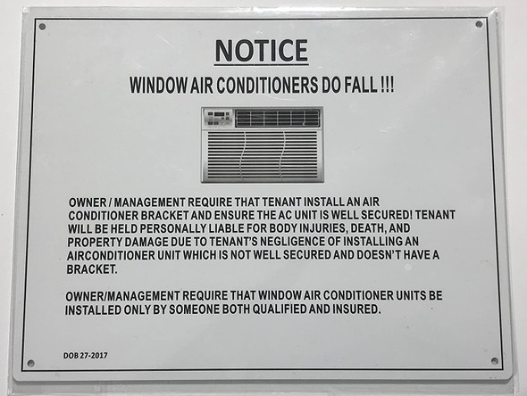 NOTICE:WINDOW AIR CONDITIONERS DO FALL Sign